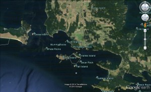 02 Cattle pass, upper left, is a popular entrance from the Strait of Juan de Fuca (image not for use in navigation)