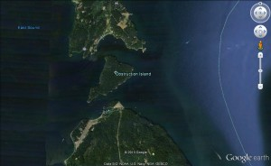 05 Obstruction Pass is north of Obstruction Island, and Peavine Pass is south of Obstruction Island (image not for use in navigation)