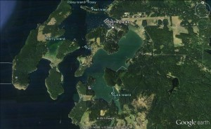 06 Mosquito Pass, between Henry and San Juan Islands, offers access to Roche Harbor as well as Garrison and Wescott Bays (image not for use in navigation)