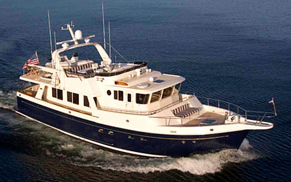 Selene 57 Trawler Yacht aerial shot
