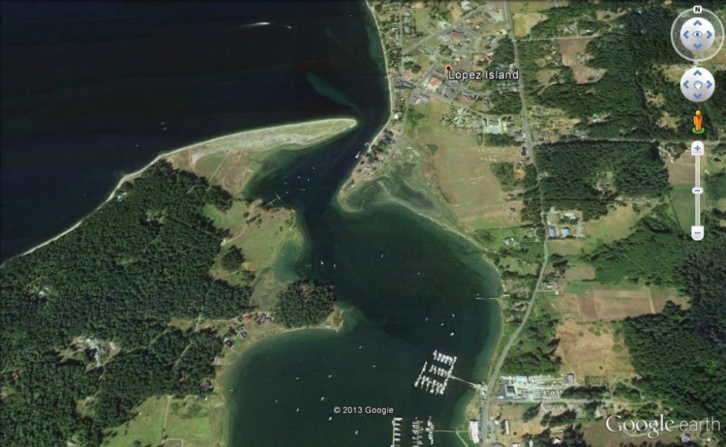 *Entrance to Fisherman Bay, Lopez Island (image not to be used for navigation)