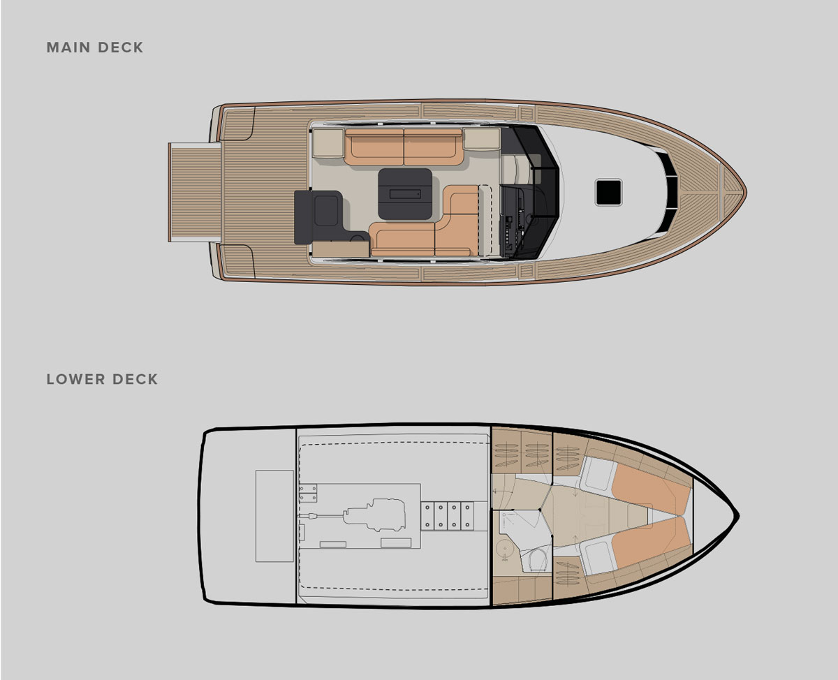 Greenline 33 Hybrid Yacht Floor plan